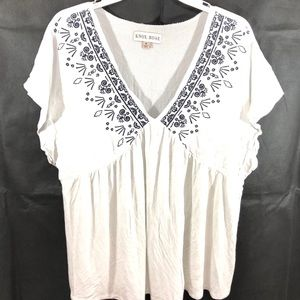 Knox Rose Boho Blouse Top White Embroidered Size M